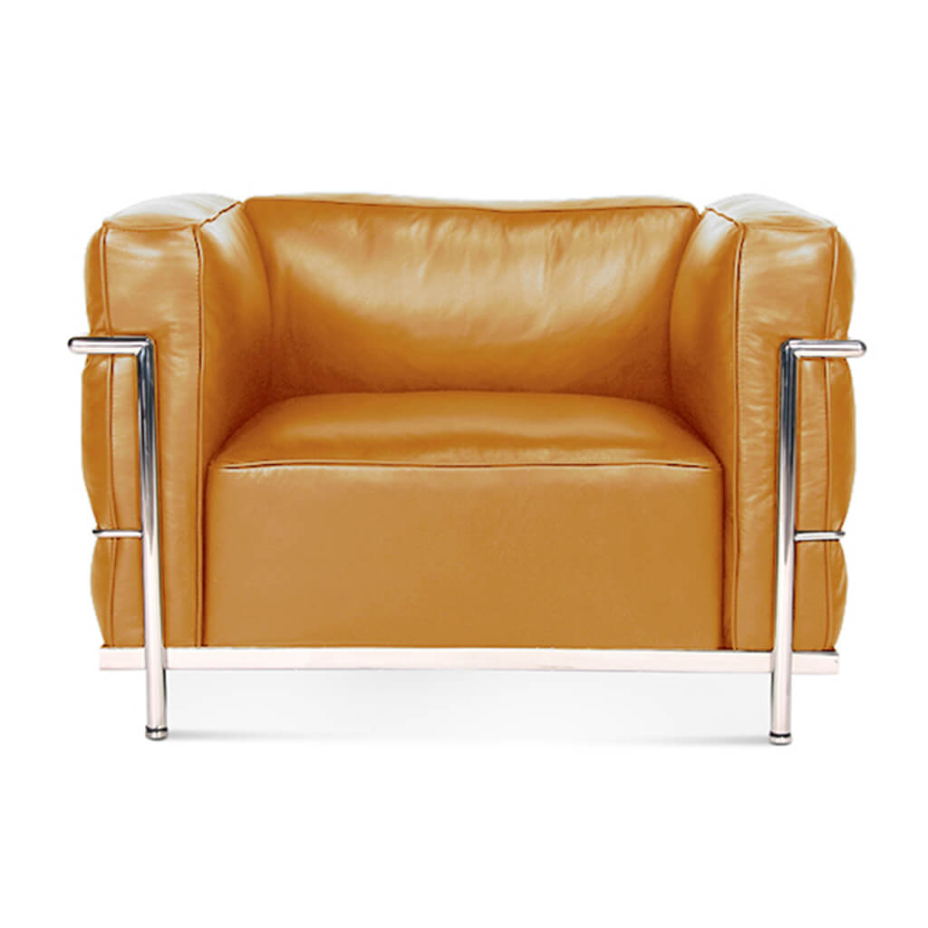 Lc3 Grand Modele Armchair With Down Cushions - Aniline Leather-Camel / Chrome Steel