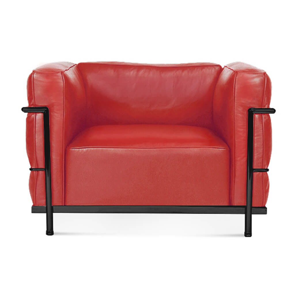 Lc3 Grand Modele Armchair With Down Cushions - Top Grain-Red / Black Powder-Coated Steel