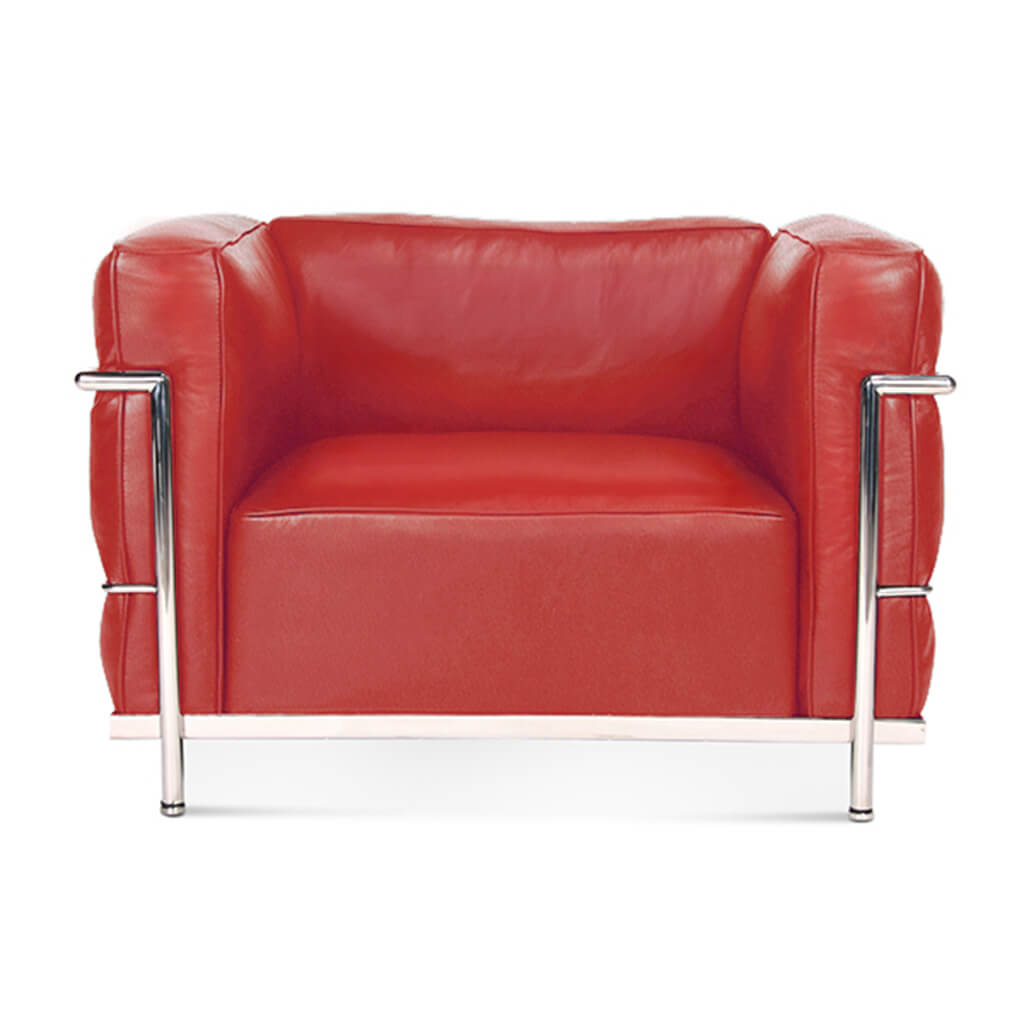 Lc3 Grand Modele Armchair With Down Cushions - Top Grain-Red / Chrome Steel