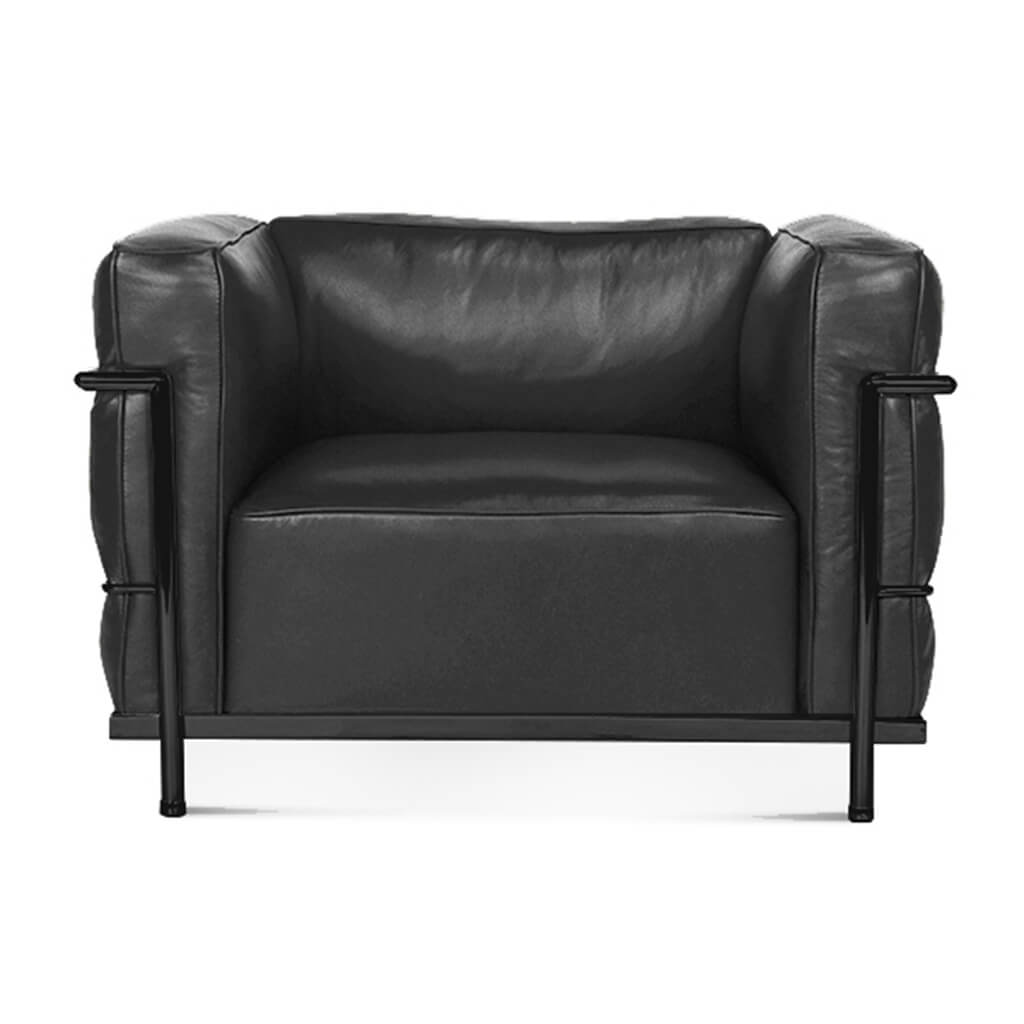 Lc3 Grand Modele Armchair With Down Cushions - Top Grain-Black / Black Powder-Coated Steel