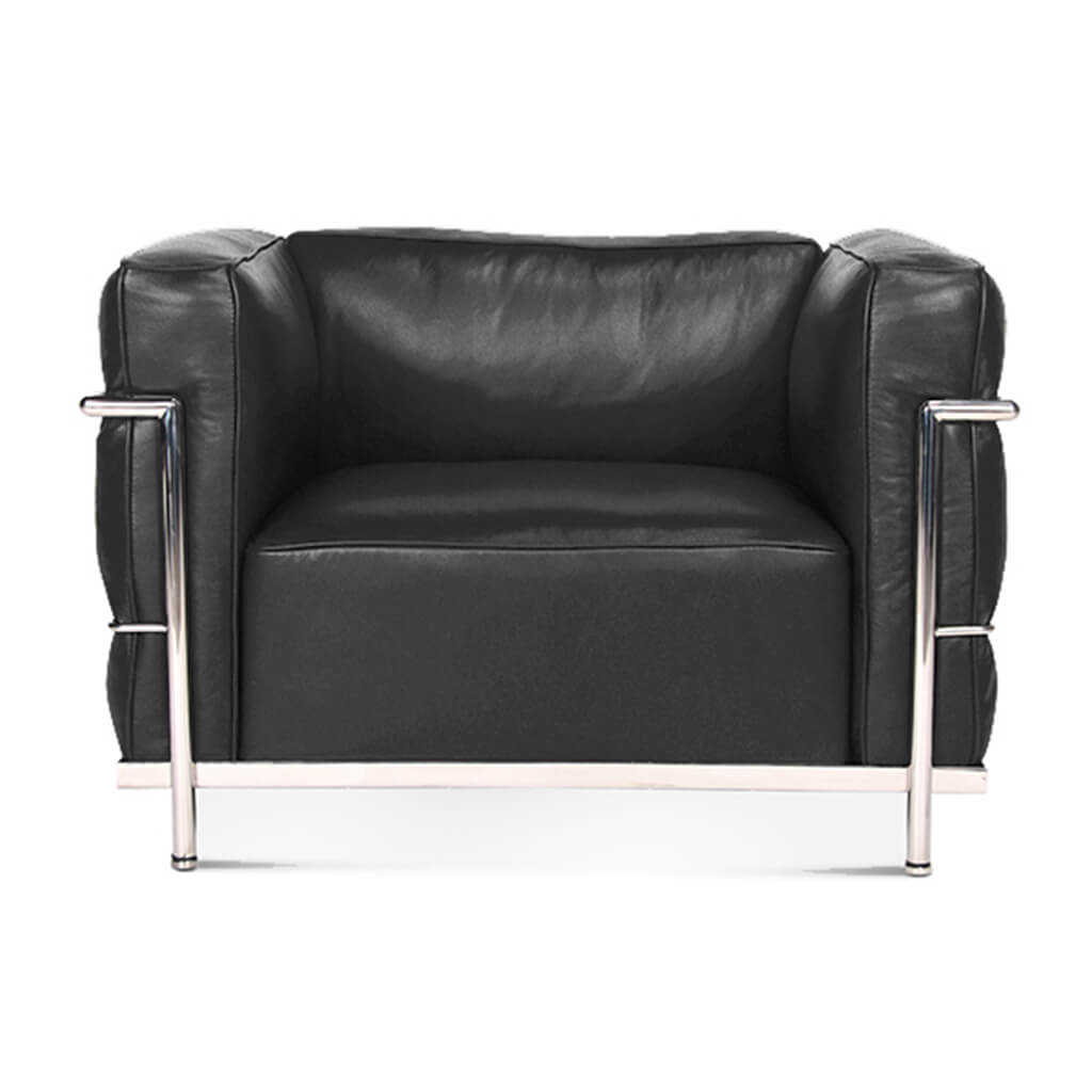 Lc3 Grand Modele Armchair With Down Cushions - Top Grain-Black / Chrome Steel