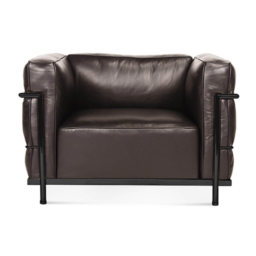 Lc3 Grand Modele Armchair With Down Cushions - Aniline Leather-Dark Brown / Black Powder-Coated Steel