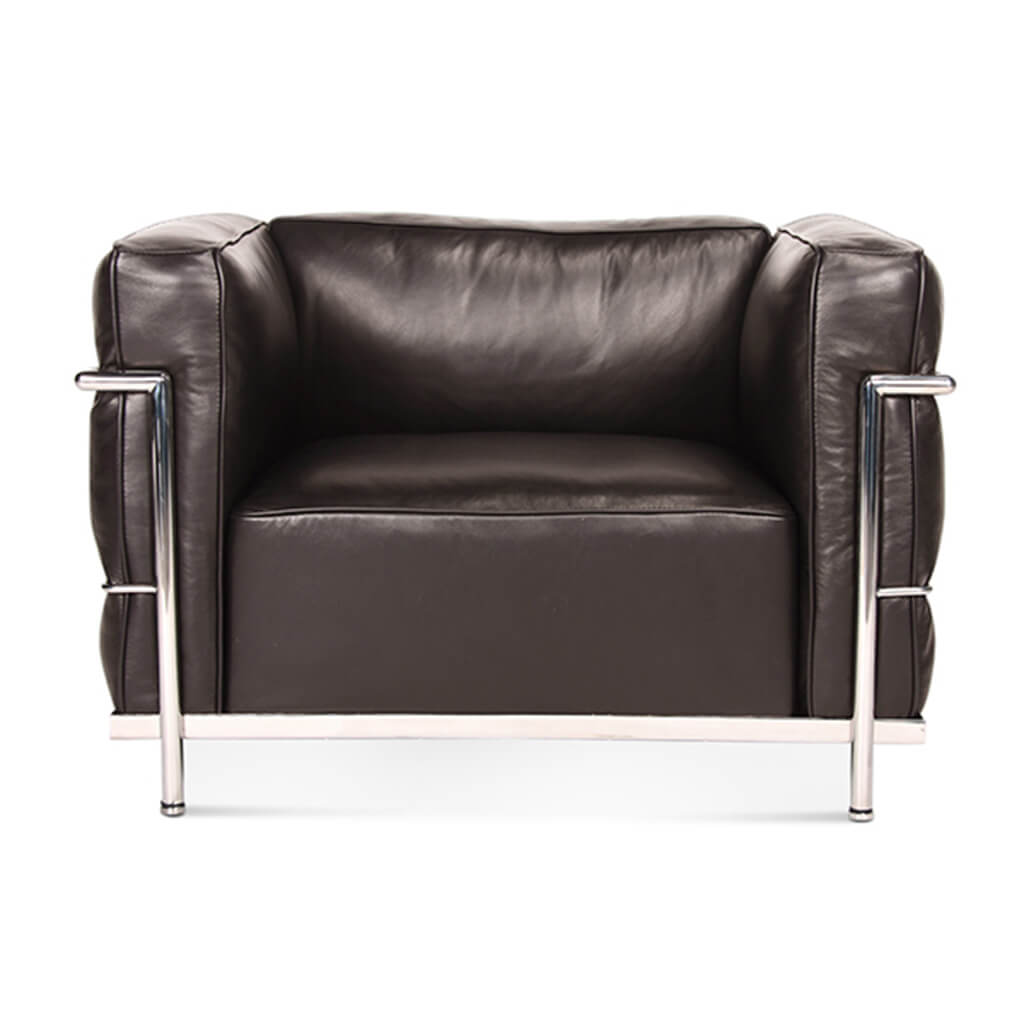 Lc3 Grand Modele Armchair With Down Cushions - Aniline Leather-Dark Brown / Chrome Steel