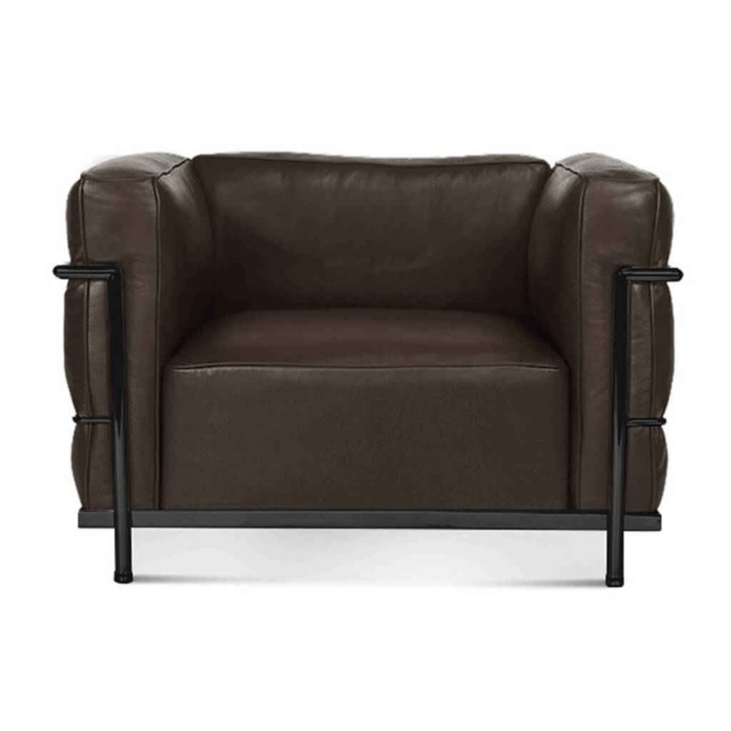Lc3 Grand Modele Armchair With Down Cushions - Top Grain-Dark Brown / Black Powder-Coated Steel