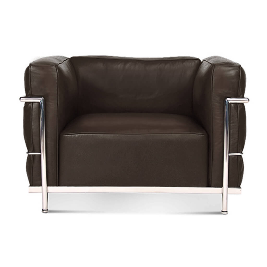 Lc3 Grand Modele Armchair With Down Cushions - Top Grain-Dark Brown / Chrome Steel