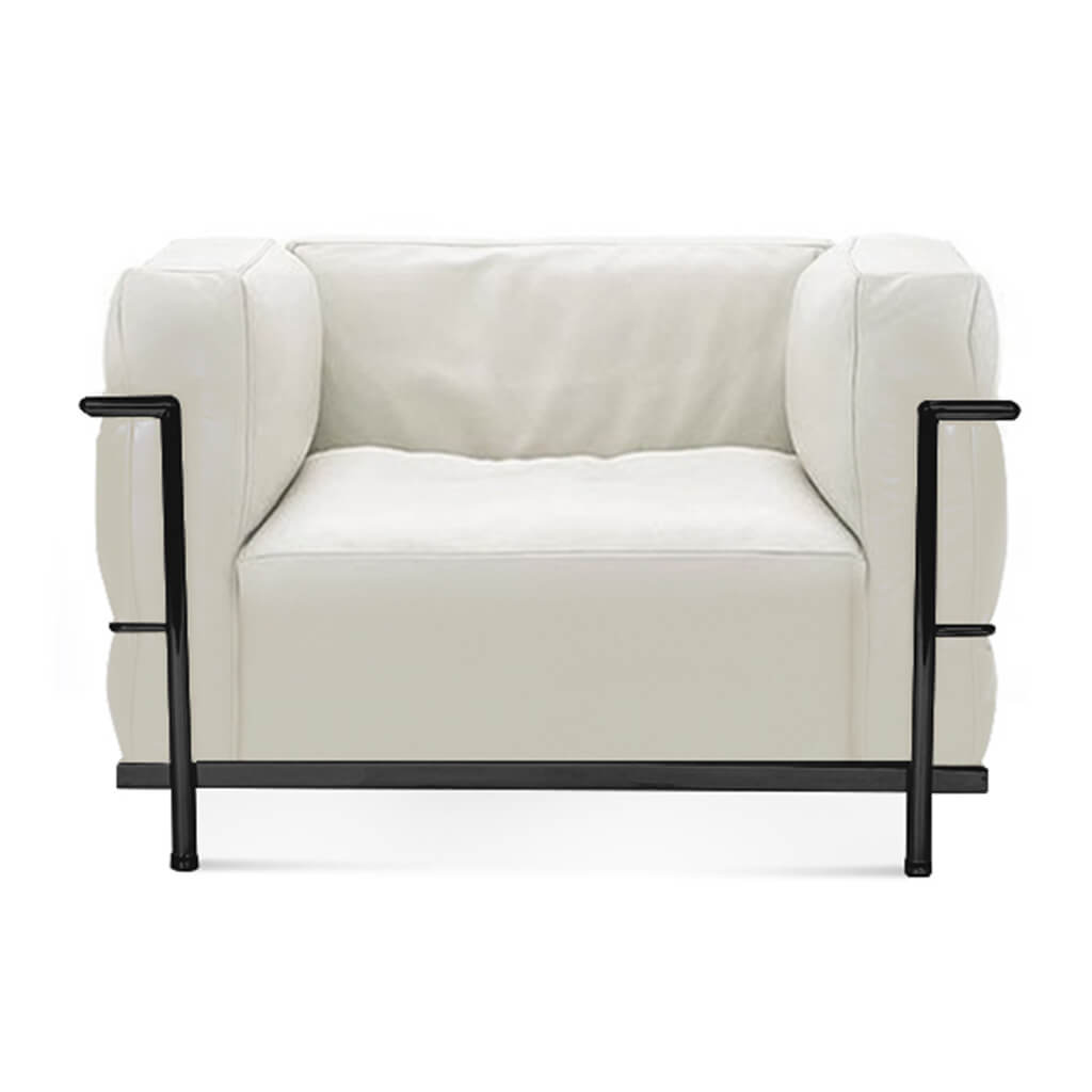 Lc3 Grand Modele Armchair With Down Cushions - Top Grain-White / Black Powder-Coated Steel