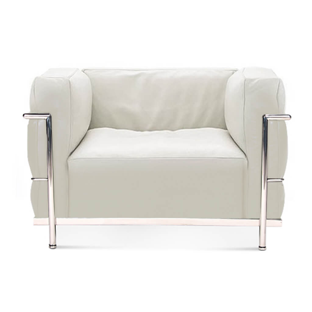 Lc3 Grand Modele Armchair With Down Cushions - Top Grain-White / Chrome Steel