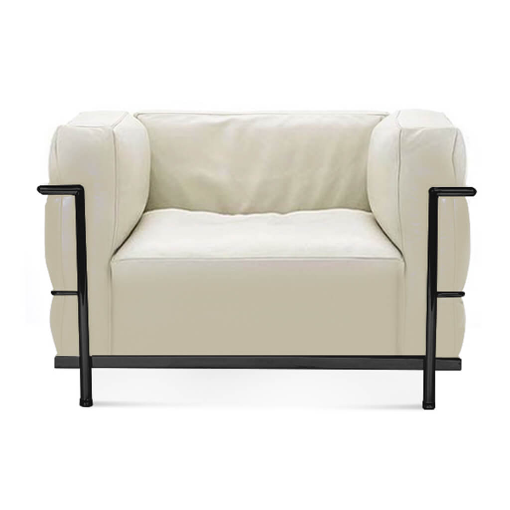 Lc3 Grand Modele Armchair With Down Cushions - Aniline Leather-Cream / Black Powder-Coated Steel