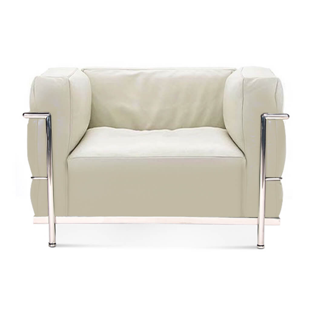 Lc3 Grand Modele Armchair With Down Cushions - Aniline Leather-Cream / Chrome Steel