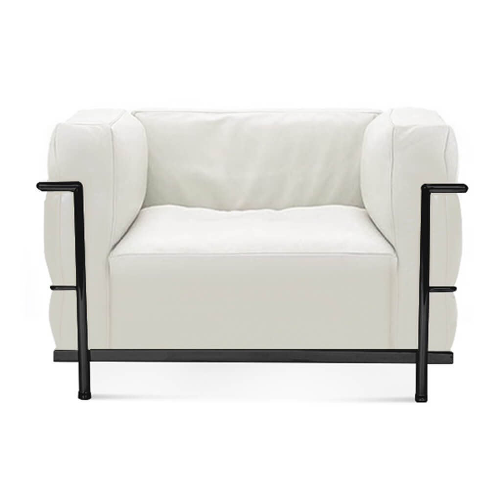 Lc3 Grand Modele Armchair With Down Cushions - Aniline Leather-White / Black Powder-Coated Steel