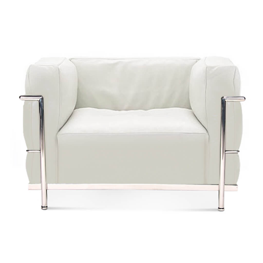 Lc3 Grand Modele Armchair With Down Cushions - Aniline Leather-White / Chrome Steel