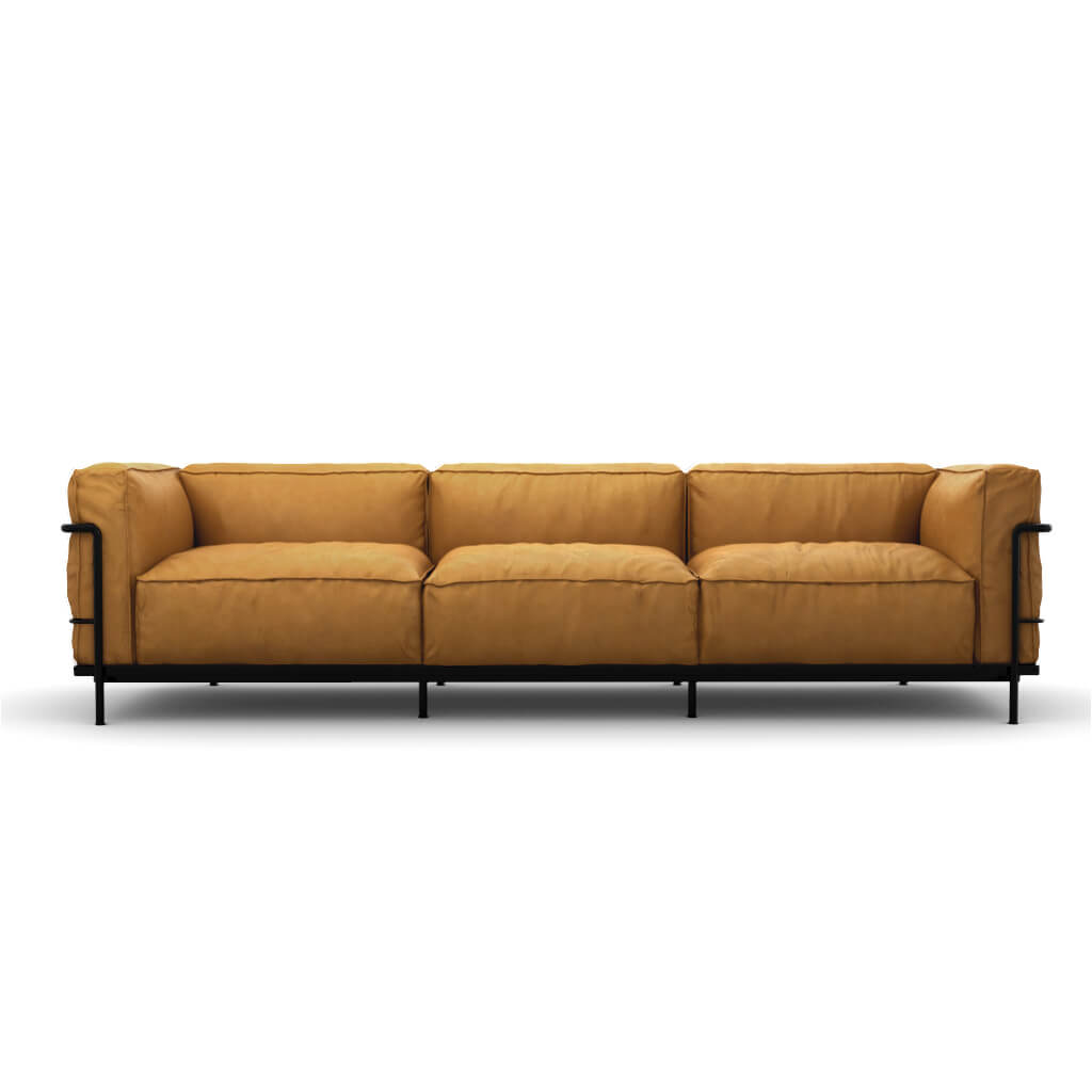 Sofa Three Seat Tan Black Steel foto