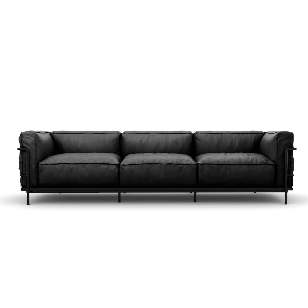 LC3 Grand Modele Three-Seat Sofa With Down Cushions - Aniline Leather-Black / Black Powder-Coated Steel