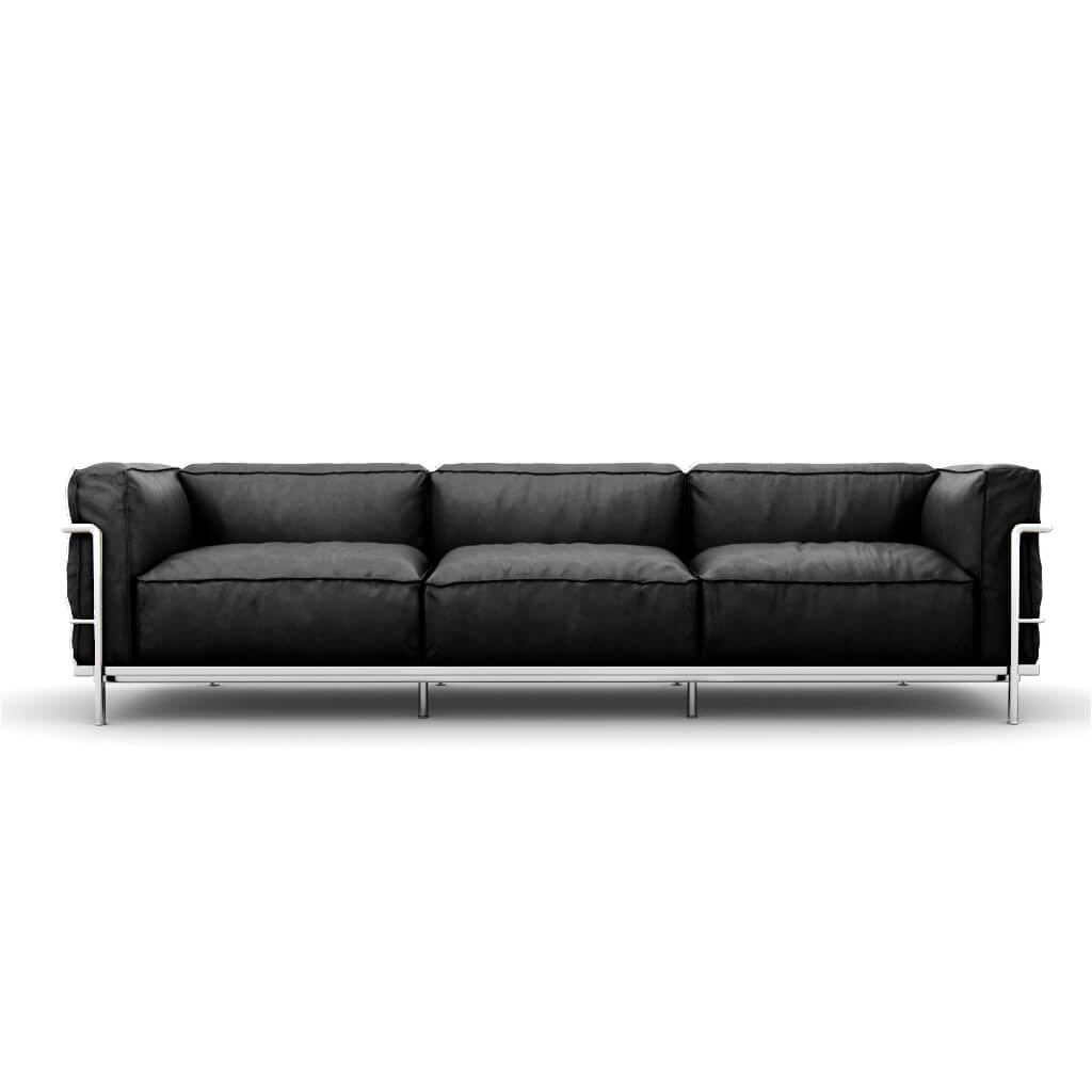 LC3 Grand Modele Three-Seat Sofa With Down Cushions - Aniline Leather-Black / Chrome Steel