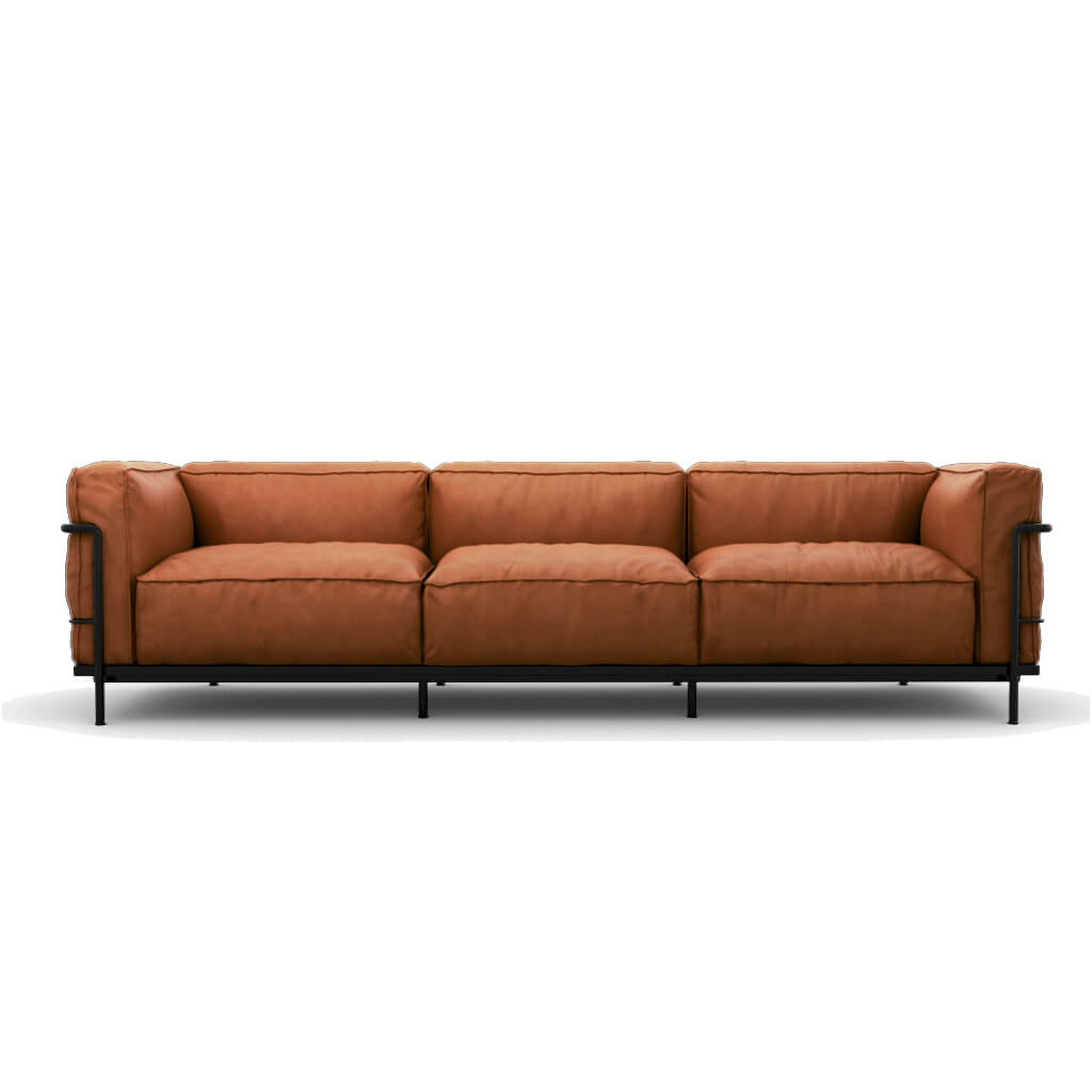 Sofa Three Seat Vintage Brown Black Steel foto