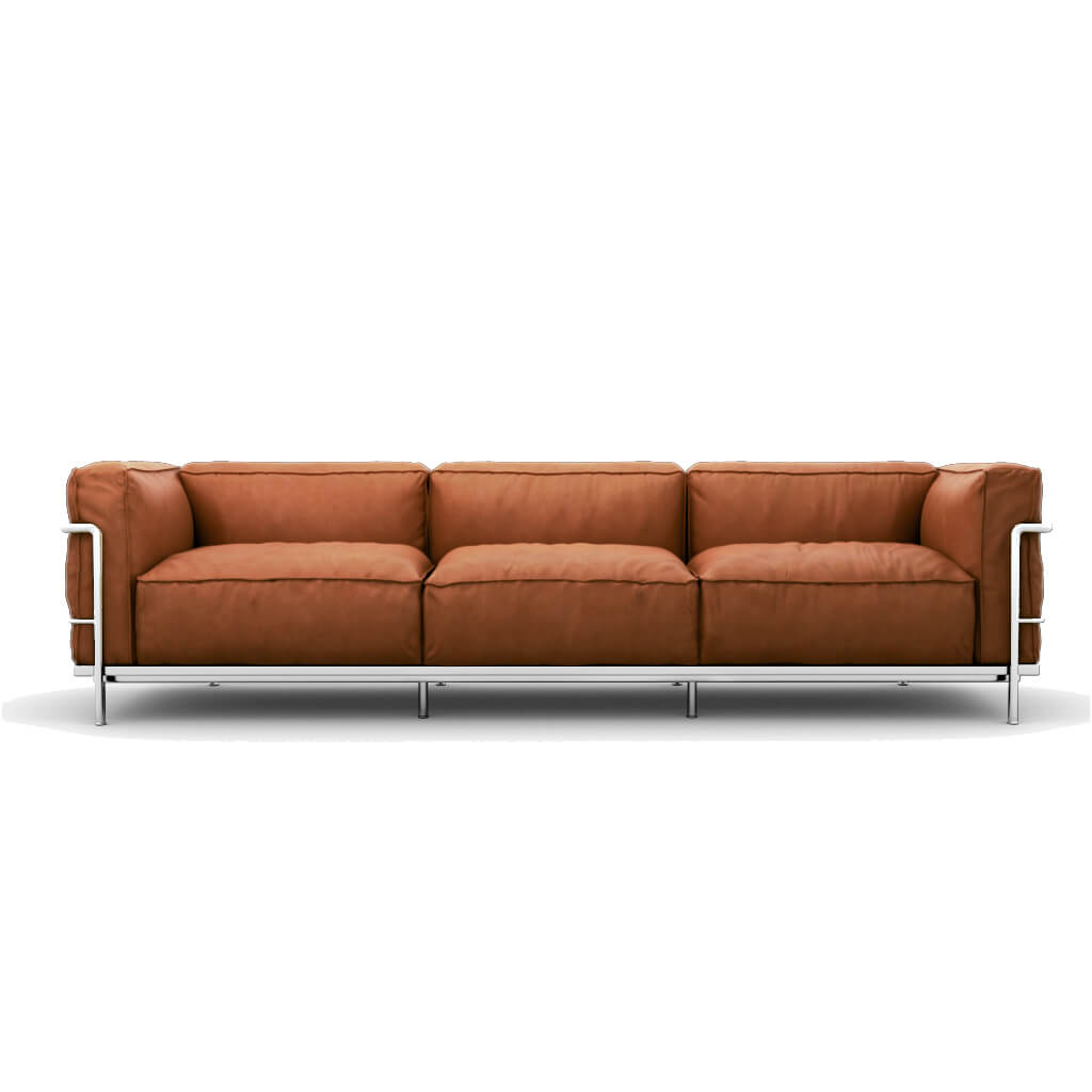 Sofa Three Seat Vintage Brown Chrome Steel foto