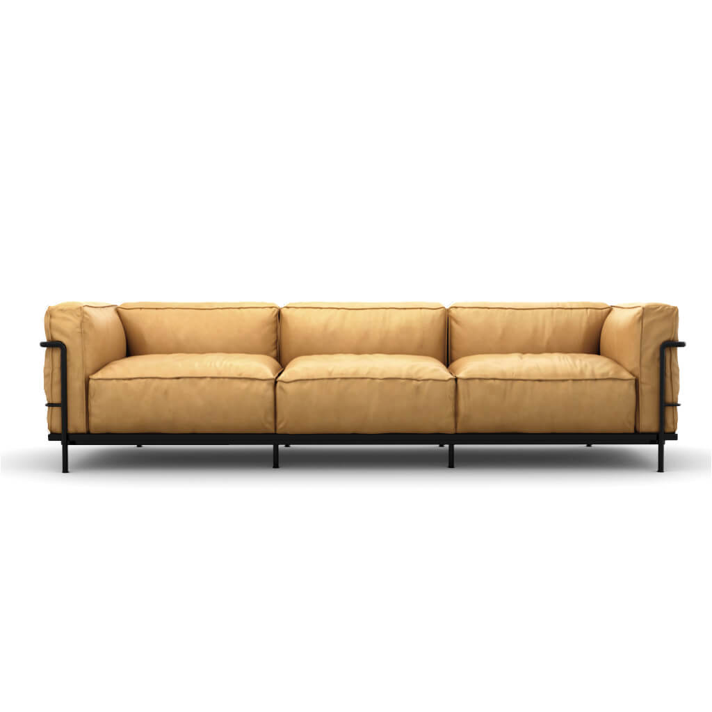 LC3 Grand Modele Three-Seat Sofa With Down Cushions - Aniline Leather-Beige / Black Powder-Coated Steel