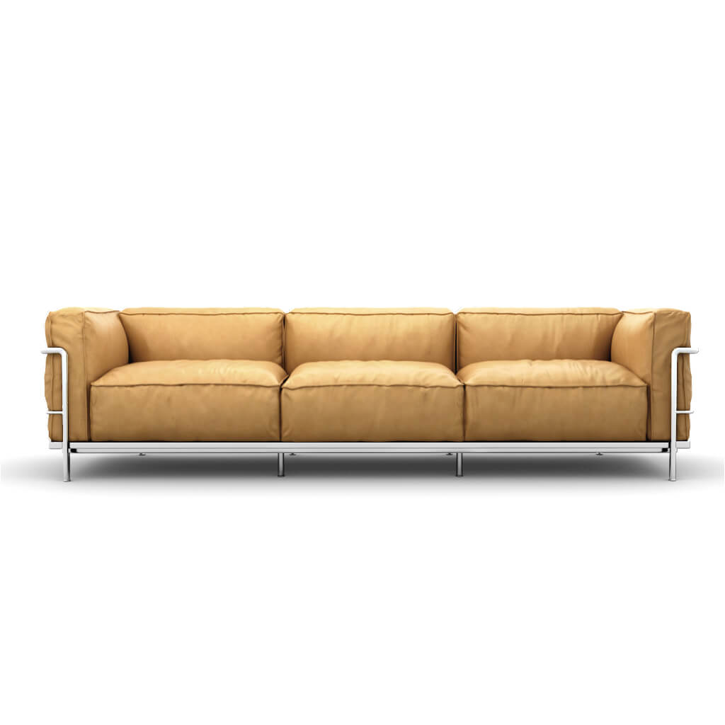 LC3 Grand Modele Three-Seat Sofa With Down Cushions - Aniline Leather-Beige / Chrome Steel