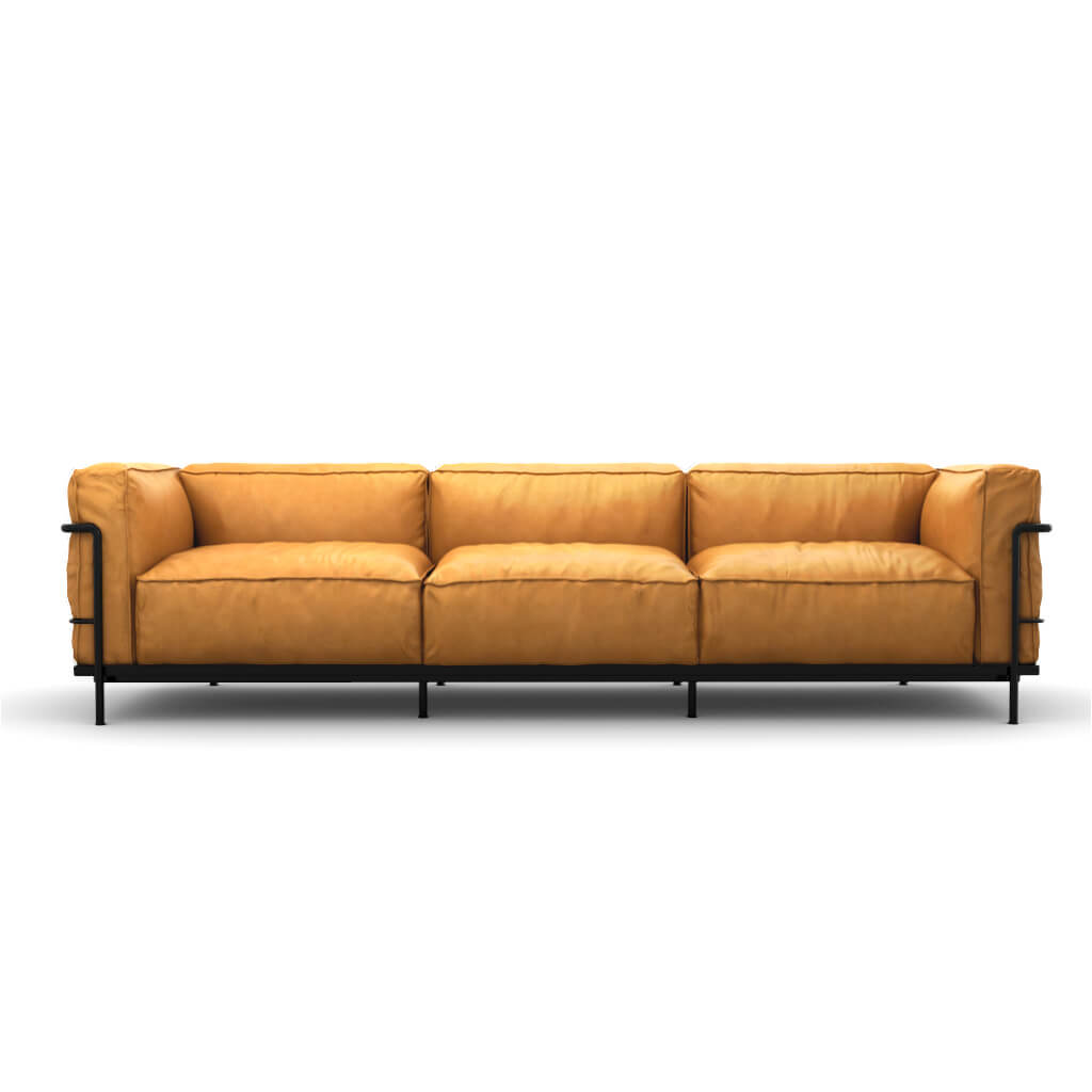 LC3 Grand Modele Three-Seat Sofa With Down Cushions - Aniline Leather-Camel / Black Powder-Coated Steel