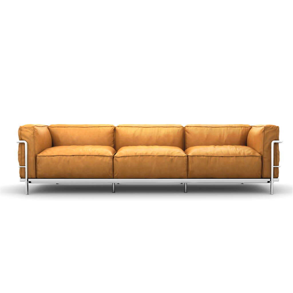 LC3 Grand Modele Three-Seat Sofa With Down Cushions - Aniline Leather-Camel / Chrome Steel