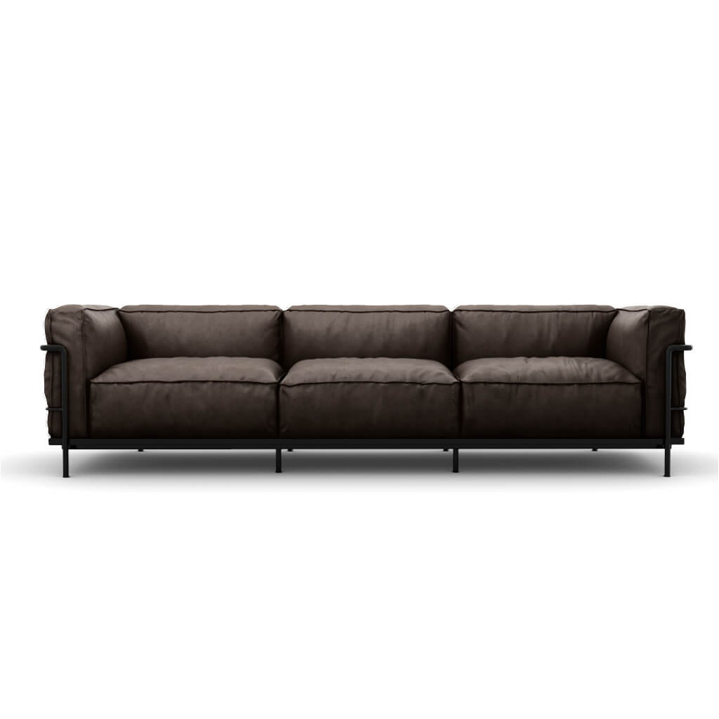 LC3 Grand Modele Three-Seat Sofa With Down Cushions - Aniline Leather-Dark Brown / Black Powder-Coated Steel