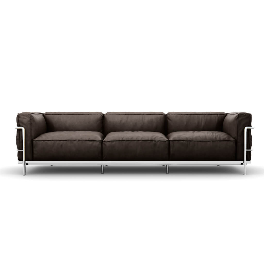 LC3 Grand Modele Three-Seat Sofa With Down Cushions - Aniline Leather-Dark Brown / Chrome Steel