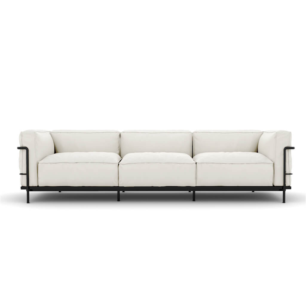 Sofa Three Seat White Black Steel foto