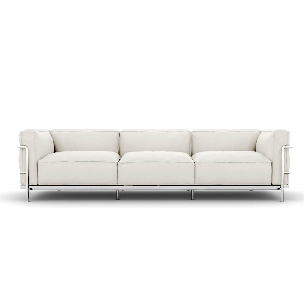 Sofa Three Seat White Chrome Steel foto