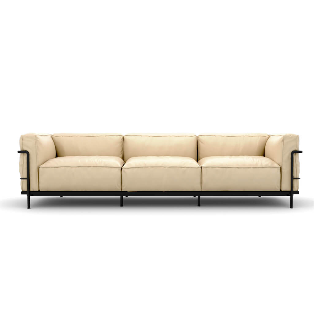 LC3 Grand Modele Three-Seat Sofa With Down Cushions - Aniline Leather-Cream / Black Powder-Coated Steel