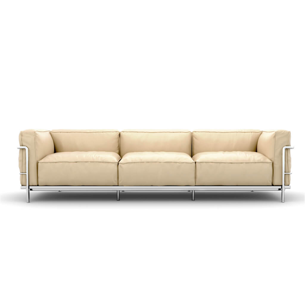 LC3 Grand Modele Three-Seat Sofa With Down Cushions - Aniline Leather-Cream / Chrome Steel