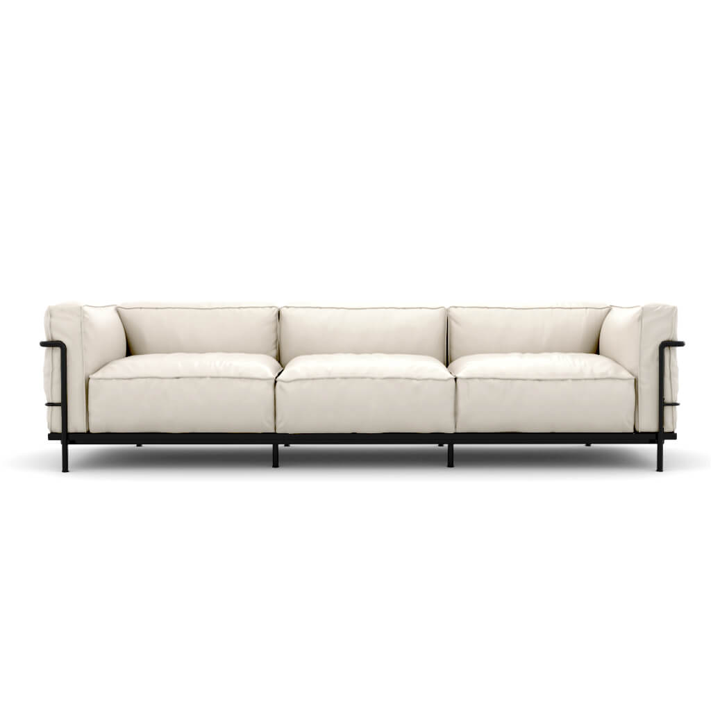 LC3 Grand Modele Three-Seat Sofa With Down Cushions - Aniline Leather-White / Black Powder-Coated Steel