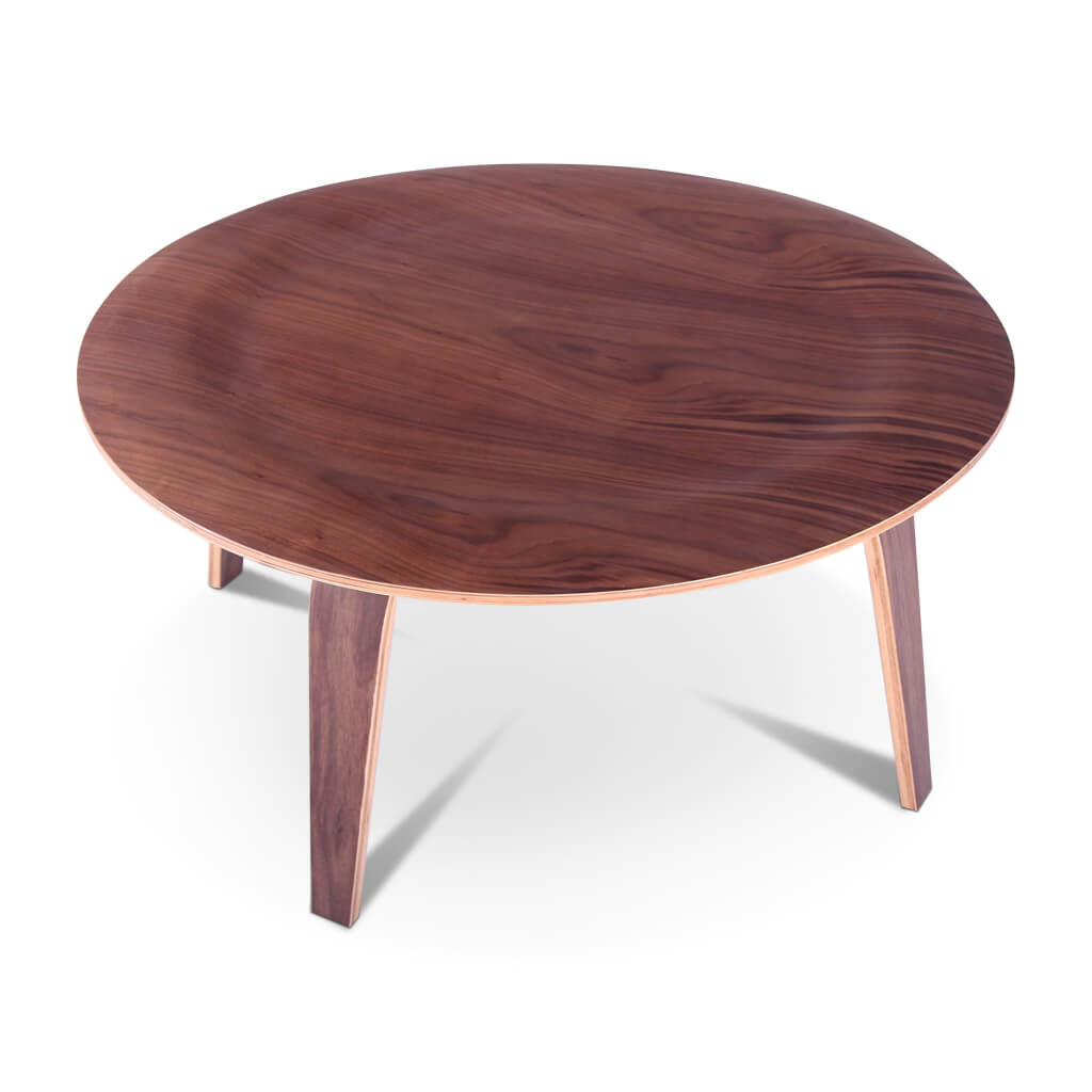 Eternity Modern Molded Plywood Coffee Table - Walnut Veneer