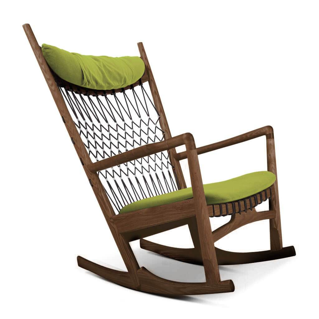 PP124 Rocking Chair - Cashmere-Chartreuse Green / Walnut Stain