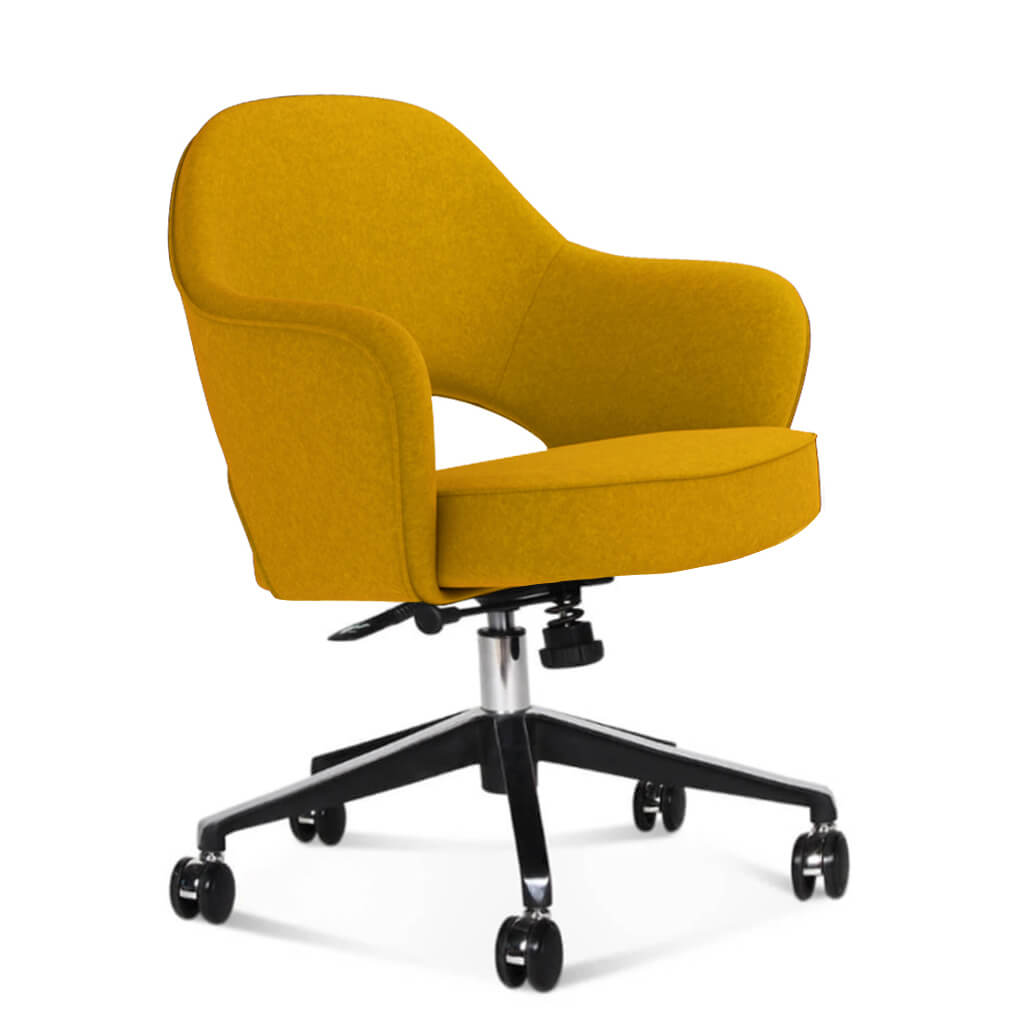 Saarinen Executive Armchair with Casters - Boucle Wool-Yellow
