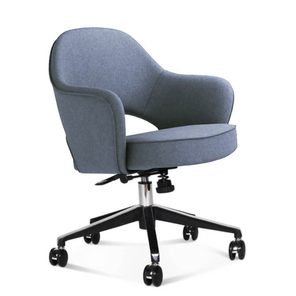 Saarinen Executive Armchair with Casters - Cashmere-Blue Grey