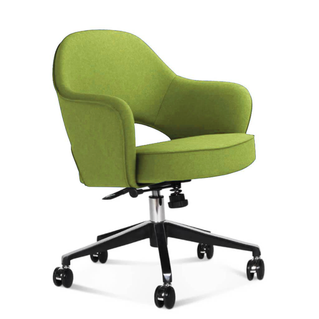 Saarinen Executive Armchair with Casters - Cashmere-Chartreuse Green