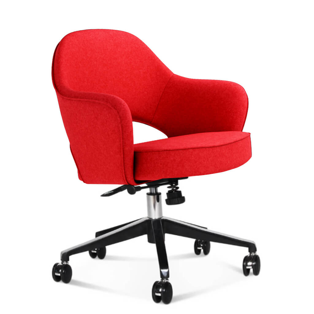 Saarinen Executive Armchair with Casters - Cashmere-Imperial Red