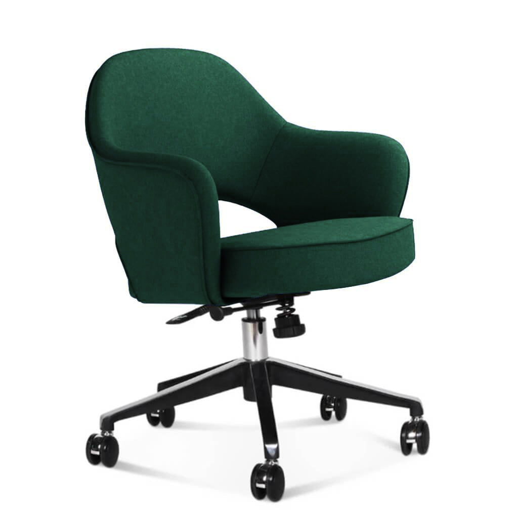 Saarinen Executive Armchair with Casters - Cashmere-Pine Green