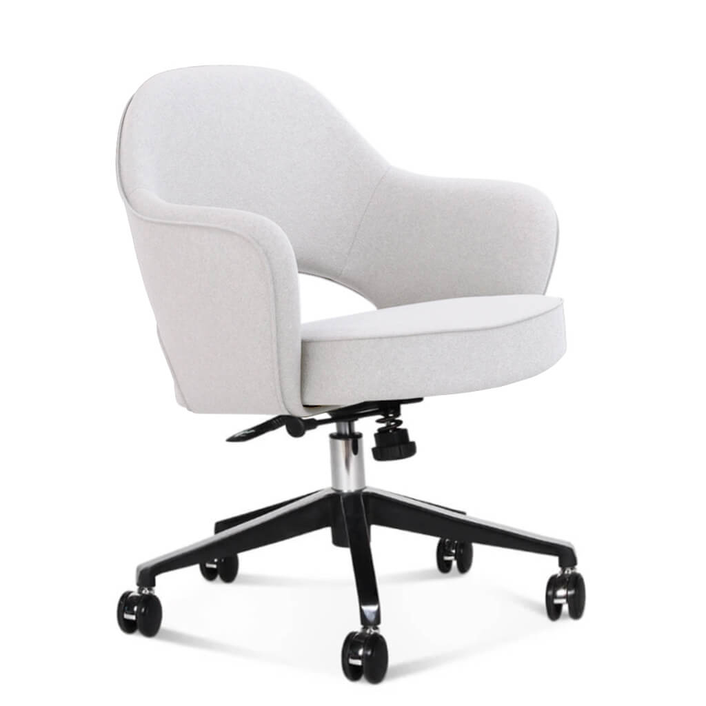 Saarinen Executive Armchair with Casters - Cashmere-Snow White