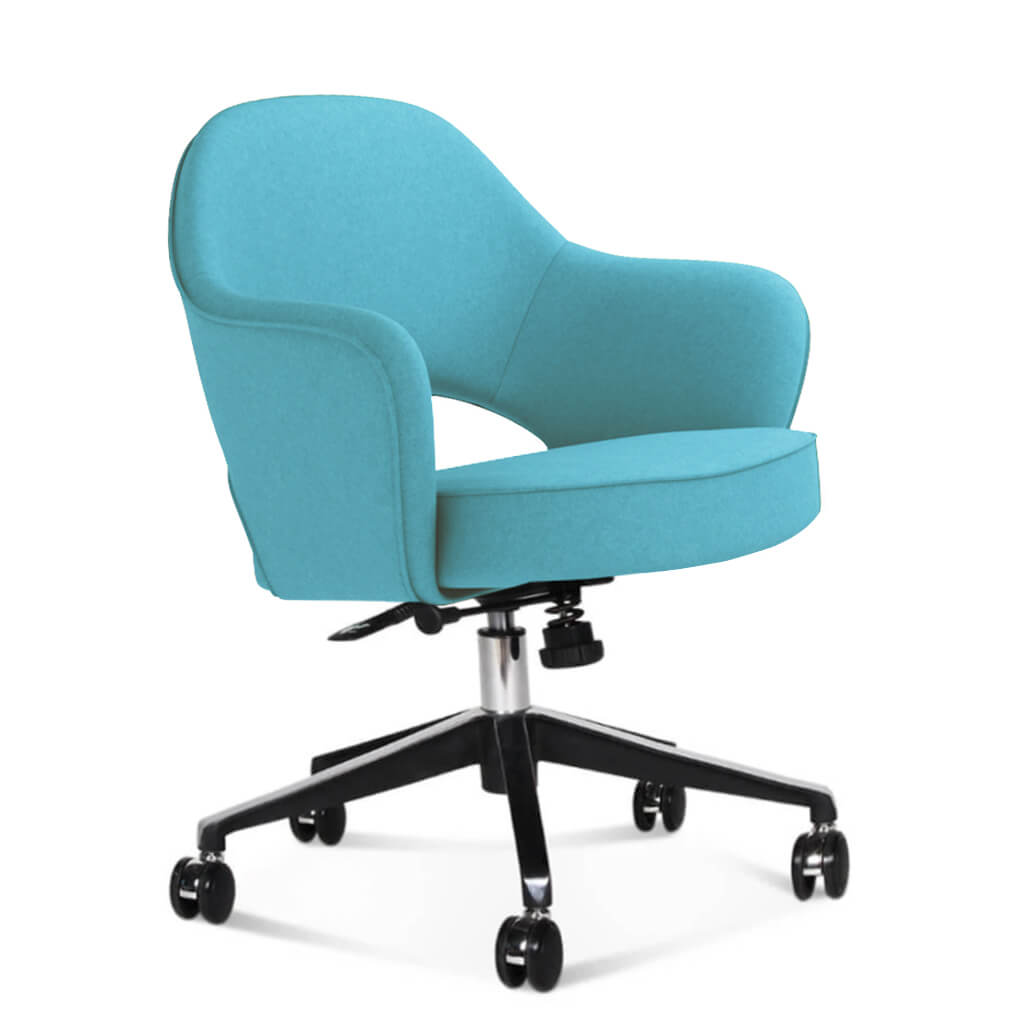 Saarinen Executive Armchair with Casters - Cashmere-Tiffany Blue
