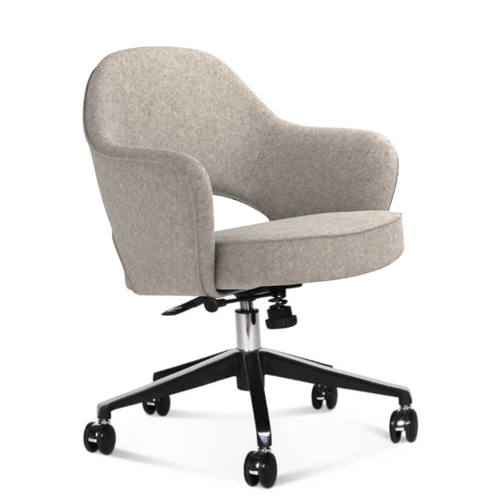 Saarinen Executive Armchair with Casters - Cashmere-Wheat Grey