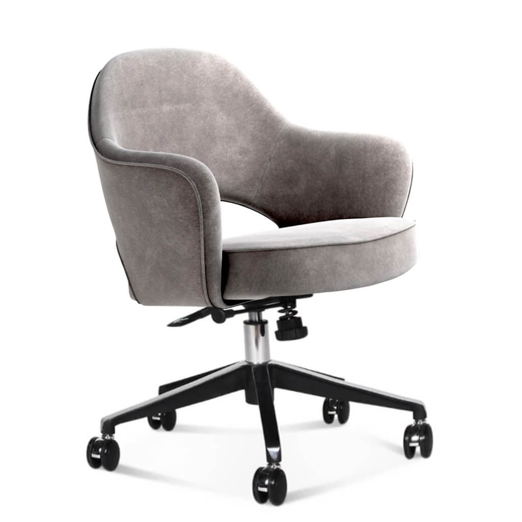 Saarinen Executive Armchair with Casters - Chenille Helios-Feathered Beige Grey