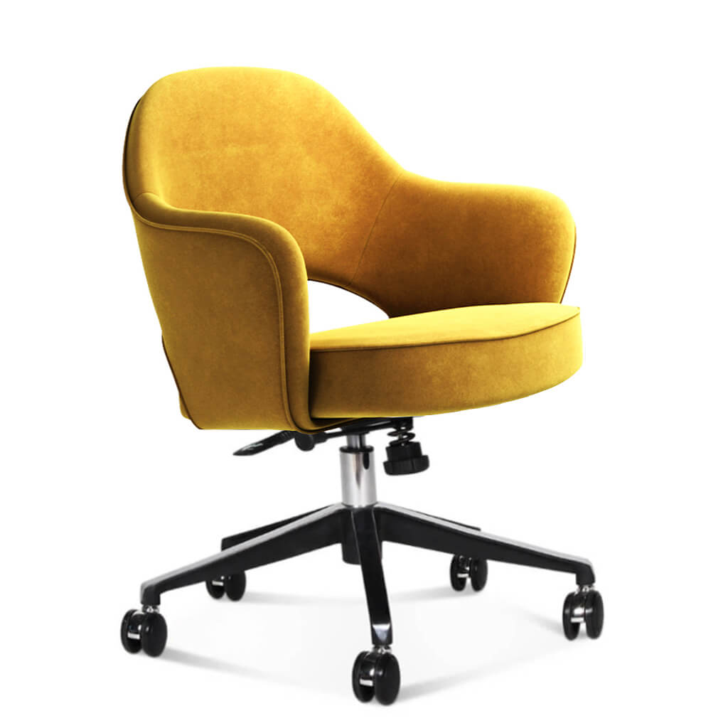 Saarinen Executive Armchair with Casters - Chenille Helios-Mustard Yellow
