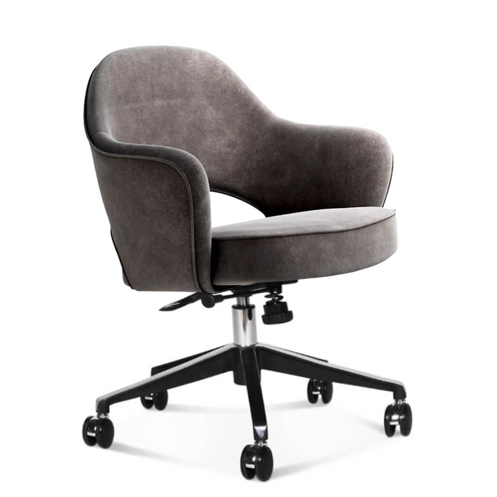 Saarinen Executive Armchair with Casters - Chenille Helios-Pewter Grey