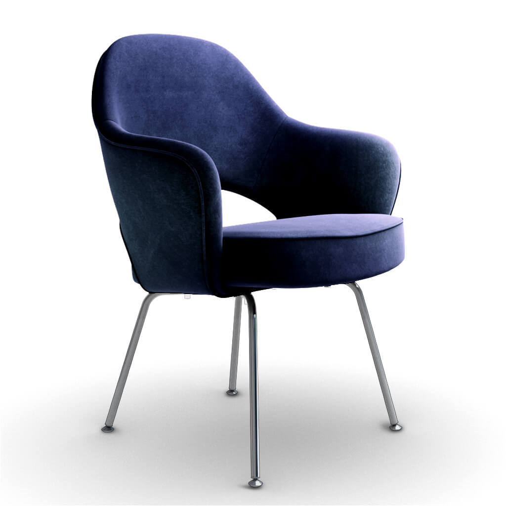 Eero Saarinen Executive Armchair - Steel Legs - Chenille Helios-Azure Blue
