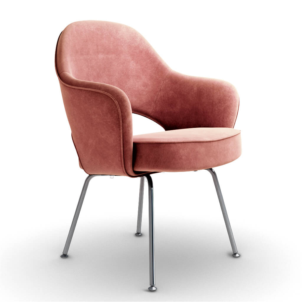 Eero Saarinen Executive Armchair - Steel Legs - Chenille Helios-Dusty Rose