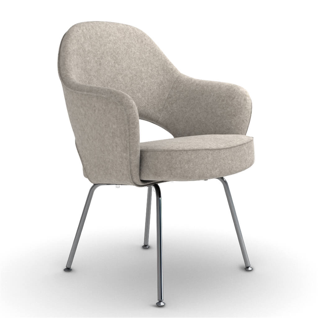 Eero Saarinen Executive Armchair - Steel Legs - Cashmere-Wheat Grey