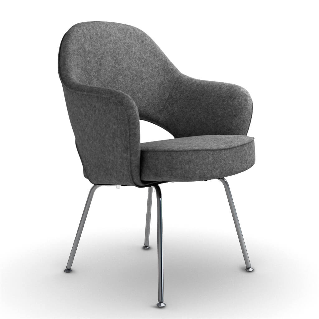 Eero Saarinen Executive Armchair - Steel Legs - Cashmere-Granite Dark Grey