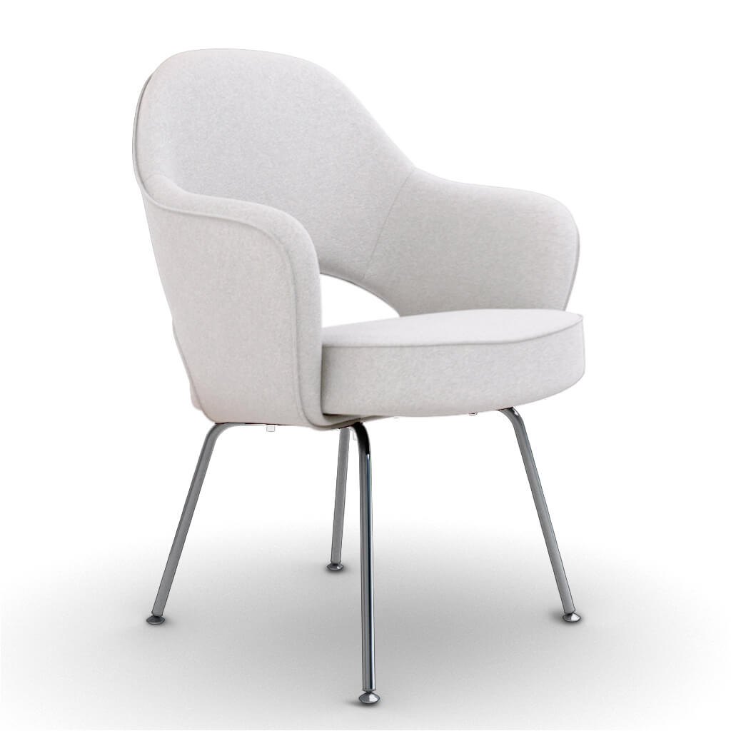 Eero Saarinen Executive Armchair - Steel Legs - Cashmere-Snow White
