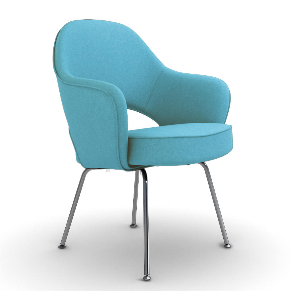 Eero Saarinen Executive Armchair - Steel Legs - Cashmere-Tiffany Blue